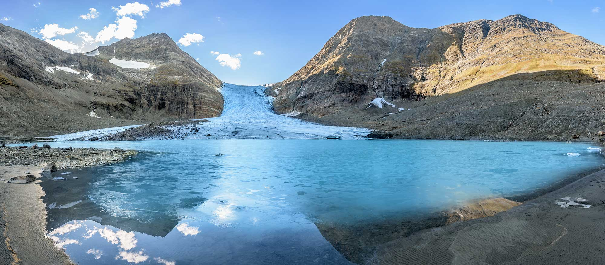 Panorama view of melting glacier. Norway.